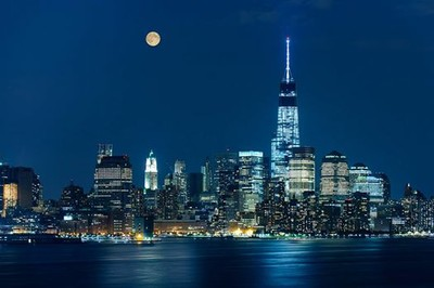 The Supermoon in Hoboken, NJ.